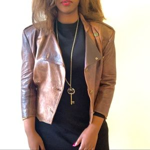 HP Vtg rustic double breast leather light jacket